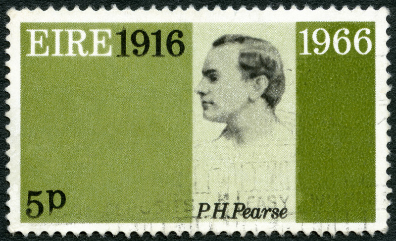 IRELAND (EIRE) - CIRCA 1966: A stamp printed in Ireland shows Patrick Henry Pearse (1879-1916), 50th anniversary of the Easter Week Rebellion, and to honor the signers of the Proclamation of the Irish Republic, circa 1966.