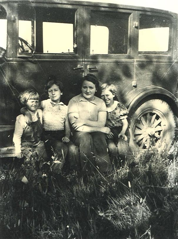 Nina, Mary, Nora, Katherine on camping trip near Lincoln, MT in 1934
