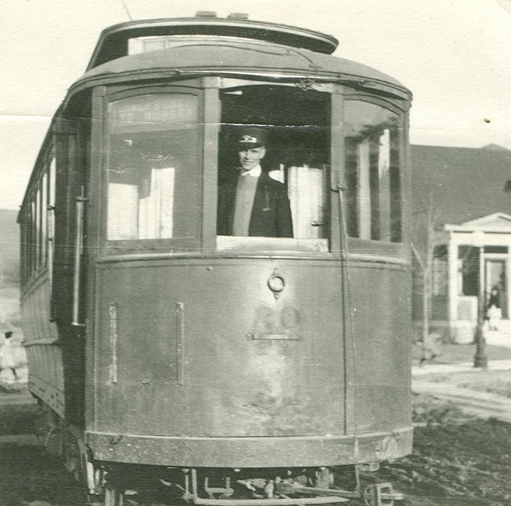 1920 photo_Cid Dalin Sr inside trolley car