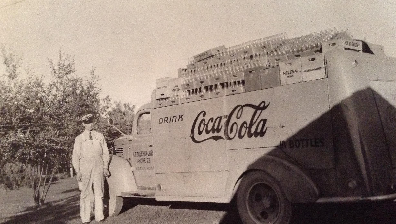 1946 09 00 photo_Cid Dalin Sr in front of Coca-Cola truck