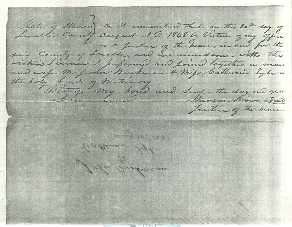 Marriage Certificate/License: John Buchenau and Catherine Tyler
