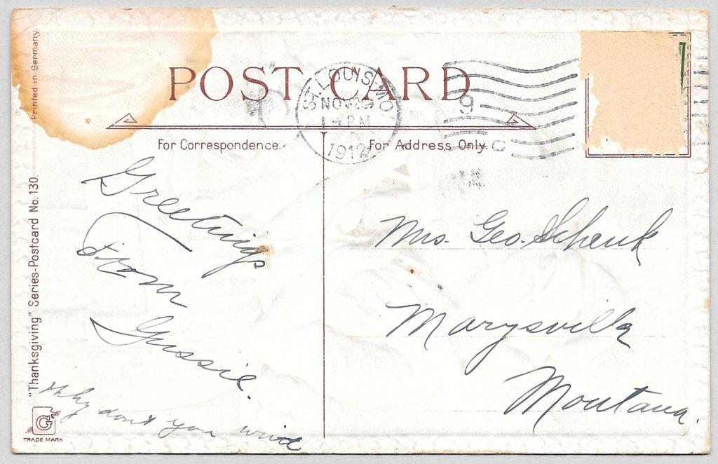 Back of vintage postcard, circa 1912