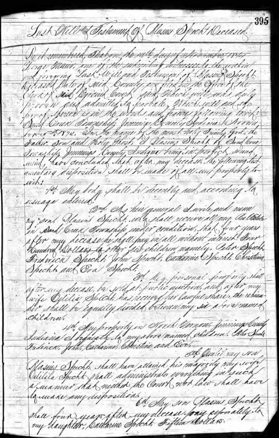 Probate and Will Record of Blasius Specht, pg. 395
