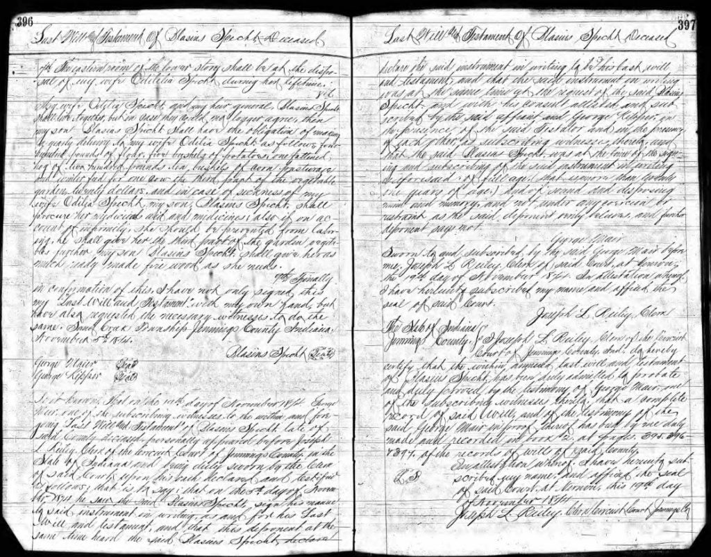 Probate and Will Record of Blasius Specht, pgs. 396 and 397
